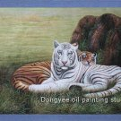 Original oil painting animals white tigers on sale
