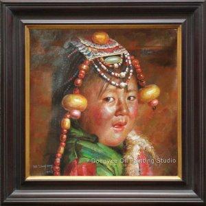 ORIGINAL OIL ON CANVAS PORTRAIT OF A TIBENAN GIRL