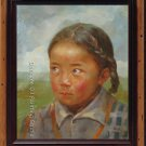 ART ORIGINAL OIL ON CANVAS TIBETAN YOUNG GIRL ON SALE