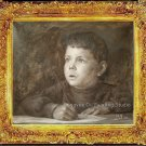 ART SALE ORIGINAL OIL ON CANVAS BOY IN THINKING-NR