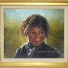 Portrait Of Tibetan Nomad Kid Art Original Oil Painting