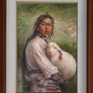 Art Original Oil Painting-Tibetan Girl Nursing The Lamb