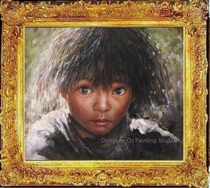 Tibetan Nomad Girl Art Original Oil Painting Portrait