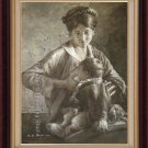 ART ORIGINAL HEAVY OIL ON CANVAS TIBETAN MOTHER&BABY-NR