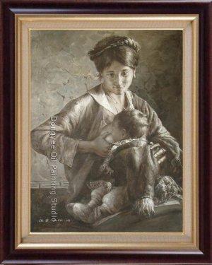 ART ORIGINAL HEAVY OIL ON CANVAS TIBETAN MOTHER&BABY-NR