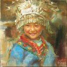 ORIGINAL OIL PAINTING MIAO NATION GIRL IN THE FESTIVAL