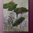 FREE SGIPPING ORIGINAL OIL PAINTING water lily Series
