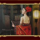 ART ORIGINAL OIL PAINTING ORIENTAL Ancient Costume LADY