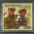 ART ORIGINAL OIL PAINTING TIBETAN NOMAD CHILD COWHERD