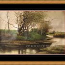 OIL PAINTING HAND PAINTED  a creek ART ON SALE LANDSCAP