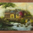 HUGE OIL PAINTING fairyland drawn by knife-LANDSCAPE