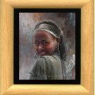 Original Art Oil Painting Ethiopian Preetty Young Girl