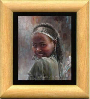 Original Art Oil Painting Ethiopian Preetty Young Girl
