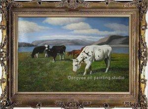 ART ORIGINAL OIL PAINTING SIGNED Cow ANIMALS