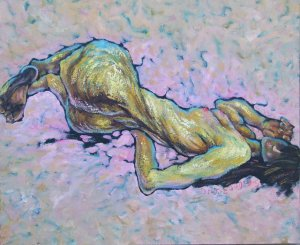 """ORIGINAL OIL ON CANVAS SIGNED BY Du""""REST"""" NUDE Series 9"""