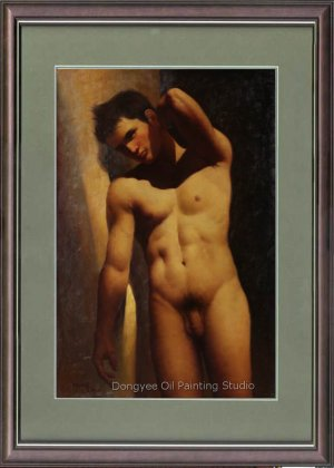 Art Original Oil Painting Against The Wall Male Nude
