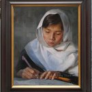Art original oil painting Afghan schoolgirl in studying