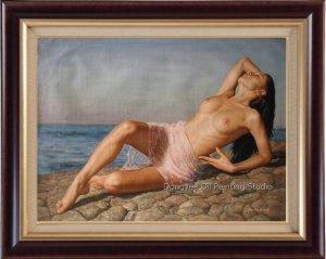 FREE SHIPPIN ART ORIGINAL OIL PAINTING FEMALE NUDE GIRL