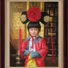 ART ORIGINAL OIL ON CANVAS Qing Dynasty little princess