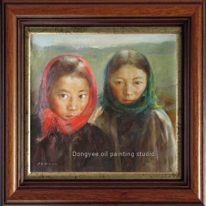 TIBETAN KIDS  TWO YOUNG GIRLS-ORIGINAL OIL ON CANVAS