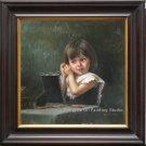 ART ORIGINAL OIL ON CANVAS PRETTY GOOD GIRL AT HOME-NR
