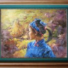 art original oil paintings MIAO NATIONALITY YOUNG GIRL
