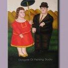 ART DECO Fernando Botero Una coppia Oil Painting