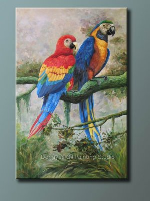 Oil painting On Canvas Art Sale 61x91cm-Parrots Animal