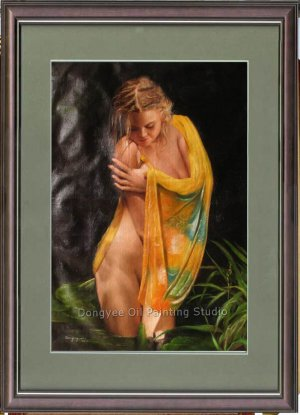 ORIGINAL OIL PAINTING SEXY NUDE GIRL BATH IN THE FIELD