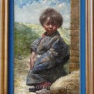 Tibetan Child In Jacket Original Oil Painting On Canvas