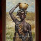 Ethiopia Figures A Mursi Woman Original Oil Painting