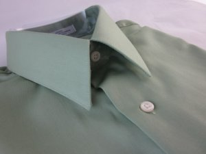 NEW GEOFFREY BEENE Mens Dress Shirt Medium 15 32/33 Sateen Wrinkle Free Green