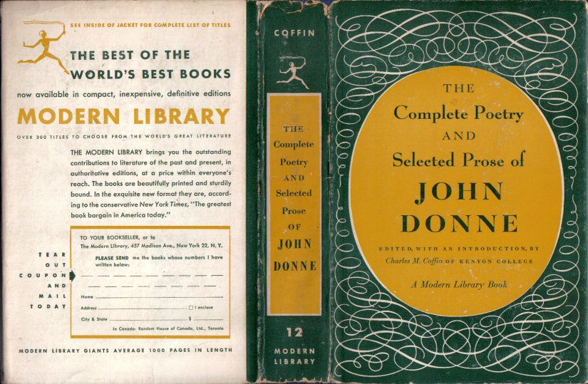 The Complete Poetry and Selected Prose of John Donne 1952 VINTAGE