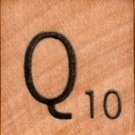 "Scrabble Letter Wood/Wooden Tile ""Q"" for replacement or crafts like jewelry or decorations"