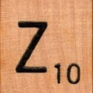 "Scrabble Letter Wood/Wooden Tile ""Z"" for replacement or crafts like jewelry or decorations"