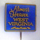 Almost Heaven West Virginia Lapel Pin 5/8&quot;x3/4&quot; Blue Excellent Condition VINTAGE FREE SHIPPING USA