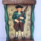 "Minute Man 1776 Wall Hanging Plaque Ceramic 9¼"" x 5½"" Collectible US History VTG"