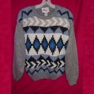 Extra Energy De Rotchild Knit Sweater Gray/Grey Blue/Cream Women Medium Ramie/Acrylic VINTAGE