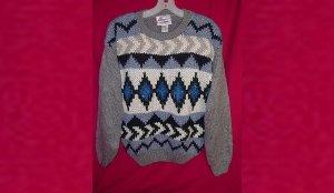 Extra Energy De Rotchild Knit Sweater Gray/Grey Blue/Cream Women Medium Ramie/Acrylic VINTAGE