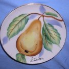 "Isamu 4"" Pear Miniature Plate Hand Painted Japan Translucent Saucer Antique EUC No nicks,chips"