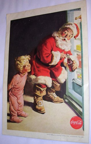 Coca Cola Christmas Santa Claus 1959 National Geographic advertisement Vintage Coke
