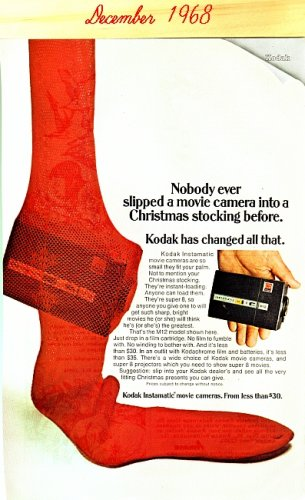 Kodak Instamatic Movie Cameras National Geographic 1968 advertisement Vintage
