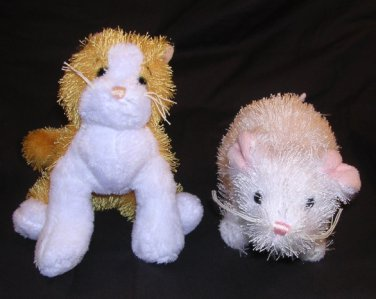 "2) Ganz lil kinz orange cat 6""~white mouse 7"" Plush Stuffed Animal Toys NO codes Free Shipping EUC"