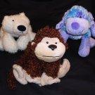 "3) GANZ Webkinz brown monkey 8""/blue dog 9""/white polar bear 9"" Plush Stuffed Animal Toy Free Ship"
