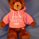 Plush tan bear property of colts Stuffed Animal Toy XXL Pink hoodie sweatshirt EUC Free Shipping