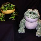 QTY 2 Ganz Webkinz Spotted Frog White/Green~lil kinz bullfrog Green/Black Plush Toy Free Shipping