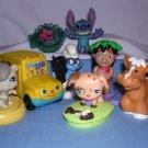 8 McDonalds Toys Stitch, Lilo Pelekai, Brainey,Little People Bus,Keychain,Bobble Head Dog Free Ship