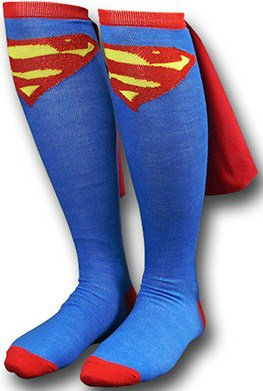 SUPERMAN Caped Socks (DC Comics) - RG3 wears them! - Super-fast shipping!