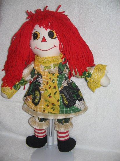 "15"" Handmade Double Sided Raggedy Ann in John Deere Outfit"