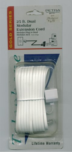 Telephone Modular Extension Cord White 25 feet